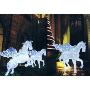 【クリスマス・イルミネーション】 LED電飾 クリスタルグロー スタンディングペガサス (防雨仕様)|chw