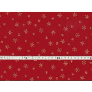 【送料無料】クリスマス生地 ラメ 雪の結晶 スノーフレークプリント レッド シーチング生地 h7021-2b chw