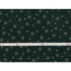 【送料無料】クリスマス生地 ラメ 雪の結晶 スノーフレークプリント グリーン シーチング生地 h7021-2c chw
