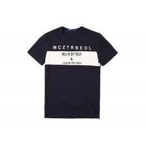 半袖Tシャツ  メンズ カジュアル Uネック 丸首 デザイン ブルー ネイビー ホワイト 白 青 E7201|chy