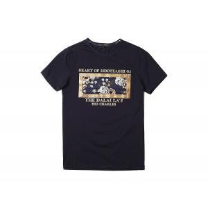 半袖Tシャツ  メンズ カジュアル Uネック 丸首 デザイン ブルー ネイビー ホワイト 青 白 E7236|chy