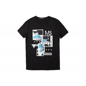 半袖Tシャツ  メンズ カジュアル Uネック 丸首 デザイン ブラック ホワイト グレー 黒 白 灰 P1029|chy