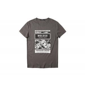 半袖Tシャツ  メンズ カジュアル Uネック 丸首 デザイン ブラック ホワイト グレー 黒 白 灰 P6035|chy