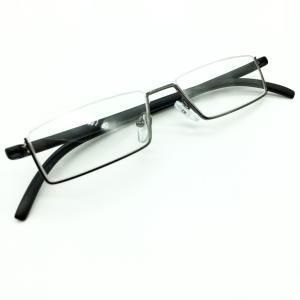 メガネ メンズ アンダーリム 逆ナイロール 度なし スクエア 下ふち ケース付き 小物|chy