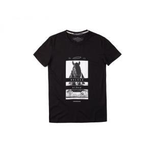 半袖Tシャツ  メンズ カジュアル Uネック 丸首 デザイン ブラック ホワイト グレー 黒 白 灰 P1201|chy