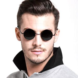ラウンドメタル 丸型 サングラス 丸メガネ UVカット 軽量 クロス付き メンズ レディース 小物|chy