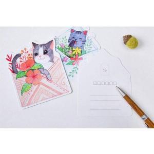 60枚 猫 花柄 ハガキ かわいい 絵葉書 ポストカード 年賀状 メンズ レディース 日用小物 A chy