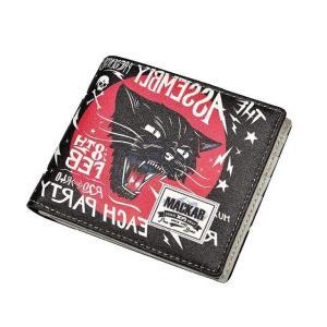 2つ折り財布 メンズ 猫 財布 ねこ柄 ウォレット 黒 ブラック 小物|chy