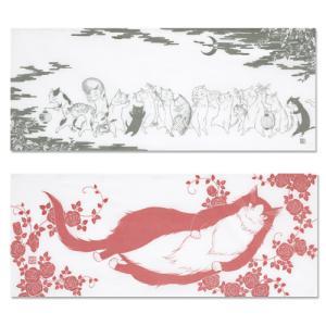 波津彬子先生『猫』手ぬぐい2枚セット「ねこじゃねこじゃ」「ヴィルヘルム薔薇」 ciao-shop