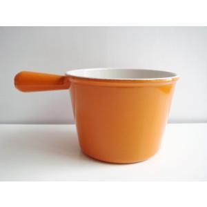 【ルクルーゼ フォンデュ オレンジ】ヴィンテージ 片手鍋 チーズフォンデュ 橙