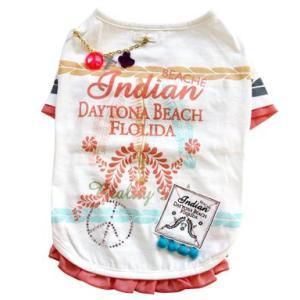 犬の服 春 夏 新作 インディアンTEE ホワイト beache ビーチェ 数量限定品 Tシャツ 洋服 ドッグウェア|ciera|02