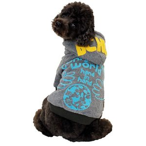 秋冬新作 犬の服 WORLDパーカー グレー BEACHE HOLIC ビーチェ ホリック 洋服 ドッグウェア ciera 06