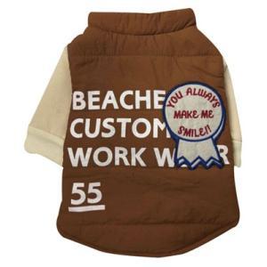 犬の服 秋 冬 重ね着風中綿ジャケット ブラウン BEACHE HOLIC ビーチェホリック ジャケット アウター|ciera|02