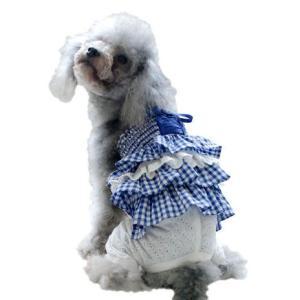 犬の服 春 夏 新作 チェックフリルチュニックセット ブルー BEACHE HOLIC ビーチェ ホリック 洋服 ドッグウェア アウトレット ciera 04