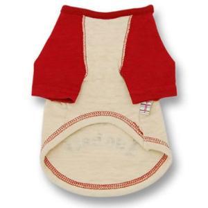 犬の服 春 夏 フロッキーラグランTシャツ レッド×ベージュ DOG SIGN ドッグサイン 国産 洋服 ドッグウェア ciera 03