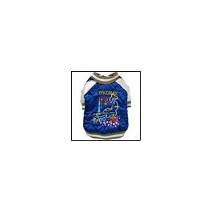 犬の服 秋 冬 新作 刺繍スカジャン ブルー D's CHAT ディーズチャット ジャケット アウター|ciera
