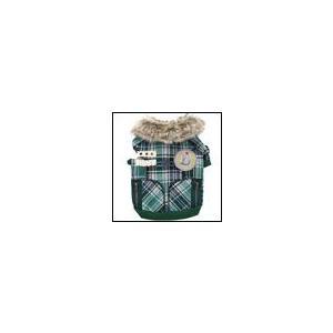 犬の服 秋 冬 新作 チェック柄プルオーバー グリーン D's CHAT ディーズチャット ダウン ジャケット アウター|ciera