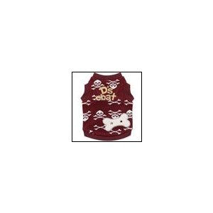 犬の服 秋 冬 新作 ドクロニットタンクトップ ワインレッド D's CHAT ディーズチャット 洋服 ドッグウェア|ciera