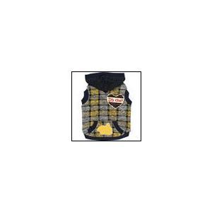 犬の服 秋 冬 新作 DSチェックパーカー イエロー D's CHAT ディーズチャット 洋服 ドッグウェア|ciera