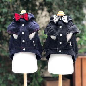犬の服 秋 冬 GODPIVA FAKEリボンデニムシャツ ブラック ゴッドピヴァ 洋服 ドッグウェア|ciera|03