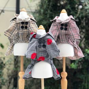 犬の服 秋 冬 GODPIVA チェックトレンチコート レッド ゴッドピヴァ 洋服 ドッグウェア|ciera|03