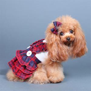 犬の服 秋 冬 GODPIVA HEATエプロン風チェックワンピース レッド ゴッドピヴァ 洋服 ドッグウェア|ciera|04
