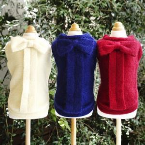 犬の服 秋 冬 GODPIVA ふわふわバックリボンニット ロイヤルブルー ゴッドピヴァ 洋服 ドッグウェア|ciera|02