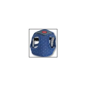 犬用胴輪  ソフトフェザーハーネス バンダナ・スタッズ ブルー LAMZY ラムジー  リード付き 小型犬|ciera