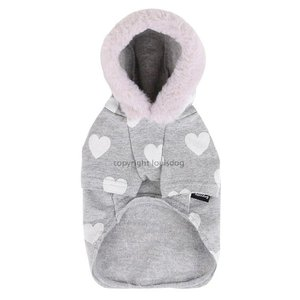 秋 新作 冬 犬の服 ルイスドッグ Louis Dog Hearts Plz Hoodie ホワイトハート パーカー 洋服 ドッグウェア|ciera|03
