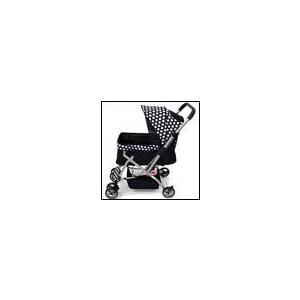 ピッコロカーネ対面式ペットストローラー PRIMO 白黒ドット 犬用バギー ボトルホルダー レインカバー付き 付き|ciera