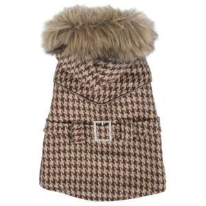 犬の服 秋 冬 HOUND'S TOOTH COAT 2 ブラウン PUPPIA パピア コート 洋服 ドッグウェア|ciera|02