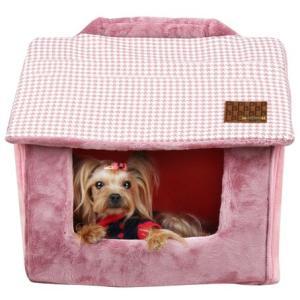 犬のベッド 秋冬 あったか PRESTIGE HOUSE インディアンピンク PUPPIA パピア 小型犬|ciera|03