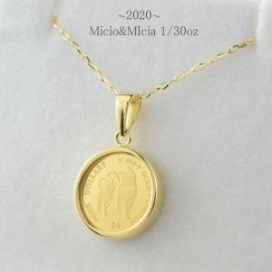 24金 ネックレス 純金 コイン k24 1/30オンス 猫 ねこ 2020年 ペンダント 18k ...