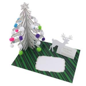Xmas クリスマス ホワイト ウッドツリーカードの画像