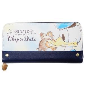 「財布:レディース」 ドナルド&チップ&デール ラウンドファスナーロングウォレット ネイビー グッズ...