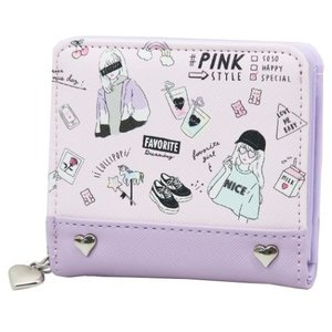 二つ折り財布 PINK STYLE ジュニア ウォレット スラスマスコット付き クラックス