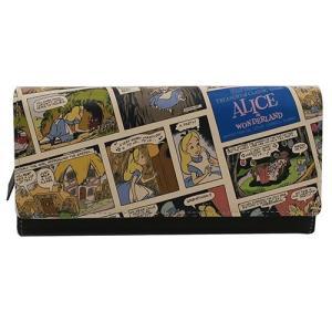 【disney_y】 「財布:レディース」 ふしぎの国のアリス グッズ レザーかぶせ ロング ウォレ...