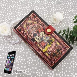 iPhone8 7 6S/6ケース レザー製手帳型カバー ステンドグラスコレクション ミッキー&ミニー ディズニー Disney  牛革製|cinemacollection