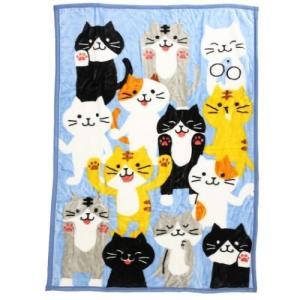 ハーフ毛布 ビッグ マイヤー ブランケット WAKUWAKU ANIMAL ねこだらけ 猫 ねこの応...