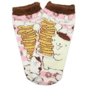 女性用 防寒 靴下 ポムポムプリン もこもこ レディース ソックス サンリオ パンケーキ ウォーマー雑貨 キャラクター|cinemacollection