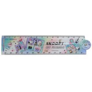 スヌーピー 分度器付き 30cm 折りたたみ定規 ものさし レインボー ピーナッツ カミオジャパン