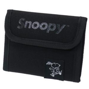 アウトドア ウォレット スヌーピー 二つ折り財布 ピーナッツ グッズ ロゴBK