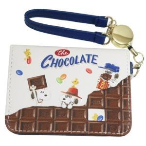 スヌーピー 定期入れ リール付き オープン パスケース チョコレートシリーズ BL ピーナッツ マリモクラフト ICカードケース|cinemacollection