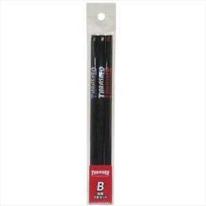 鉛筆 THRASHER 丸軸えんぴつB 3本セット Black スラッシャー サカモト 文具