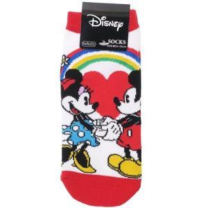 「メール便可」「靴下:レディース」 ミッキー&ミニー レディース ソックス 女性用 靴下 レインボー...