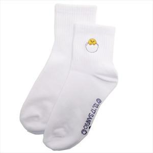 「メール便可」「靴下:レディース」 ぐでたま レディース ワンポイント 刺繍 ソックス 女性用 白 ...