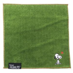 ミニタオル スヌーピー 刺繍 ジャガード ハンカチタオル 西川リビング ストライプ グリーン グッズ 25×25cm プチギフト|cinemacollection