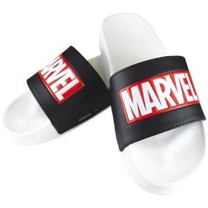 ロゴ サンダル MARVEL シャワー サンダル ホワイト×ブラック マーベル ティーズファクトリー 男女兼用|cinemacollection