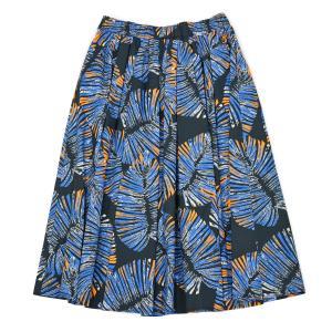 ANTONELLI【アントネッリ】リーフプリントスカート VALENCIA A9884 165B 817 コットン ブルー|cinqessentiel