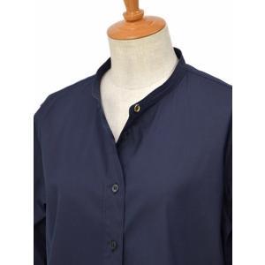Bagutta【バグッタ】バンドカラーシャツ G_LERA CN0672 051 コットン ナイロン ネイビー|cinqessentiel|02
